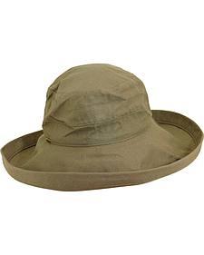 Scala Women's Olive Cotton Wide Brim Sun Hat