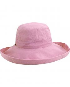 Scala Women's Pink Cotton Wide Brim Sun Hat