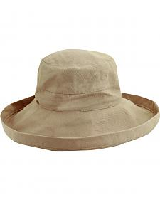 Scala Women's Taupe Cotton Wide Brim Sun Hat