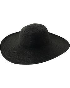 Scala Women's Black Big Brim Paper Sun Hat