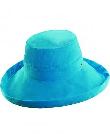 Scala Women's Azure Cotton Wide Brim Sun Hat