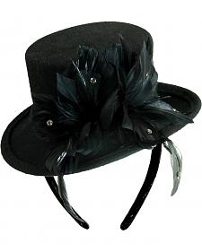 Scala Women's Wool Felt Feather Top Hat Fascinator