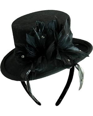 Scala Womens Wool Felt Feather Top Hat Fascinator $48.99 AT vintagedancer.com