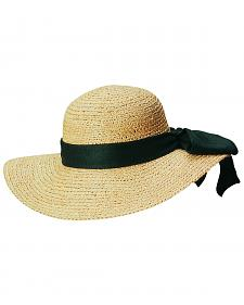Scala Women's Natural Organic Raffia with Black Bow Sun Hat