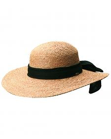 Scala Women's Tea Organic Raffia with Black Bow Sun Hat