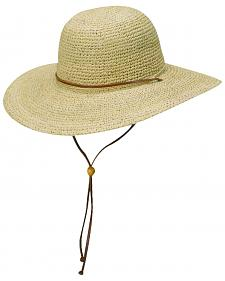 Scala Women's Natural Organic Raffia with Leather Chin Cord Sun Hat