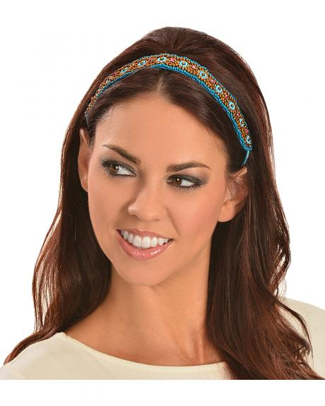 Silver Strike Turquoise & Bronze Beaded Elastic Headband