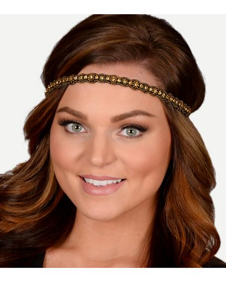 Pink Pewter Gold Hand Beaded Sloan Stretch Headband
