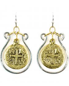 Julio Designs Gold Cross Coin Earrings