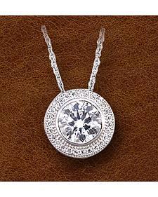 Kelly Herd Sterling Silver Pave' Bezel Set Necklace