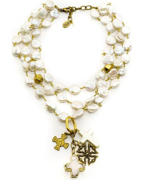Julio Designs Doña Fortuna Butterfly Pearl Necklace