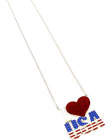 Ethel & Myrtle I Love USA Heart Necklace
