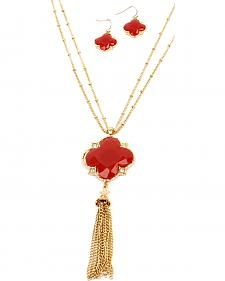 Ethel & Myrtle Red Clover Tassel Jewelry Set