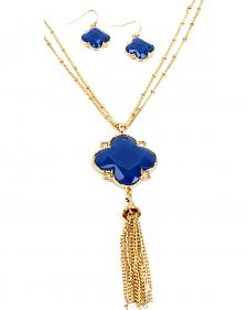 Ethel & Myrtle Blue Clover Tassel Jewelry Set
