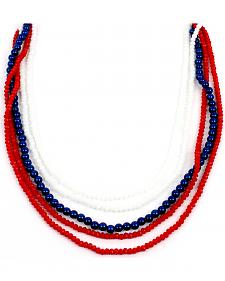 Ethel & Myrtle Six-Strand Red, White, and Blue Beaded Necklace