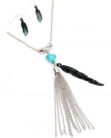 Ethel & Myrtle The Ranch Turquoise Feather Jewelry Set
