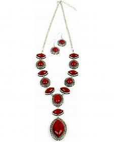 Ethel & Myrtle Red Drop Pendant Jewelry Set
