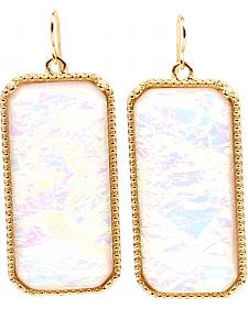 Ethel & Myrtle Best of Show White Opal Crystal Rectangle Earrings