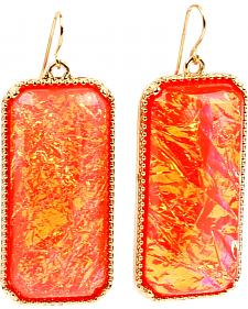 Ethel & Myrtle Best of Show Coral Opal Crystal Rectangle Earrings