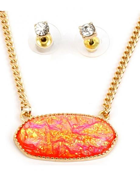Ethel & Myrtle Best of Show Coral Opal Crystal Jewelry Set