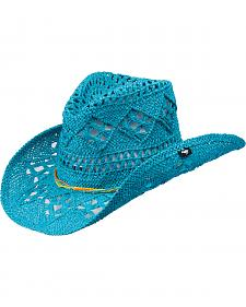 Peter Grimm Ariel Turquoise Straw Cowgirl Hat
