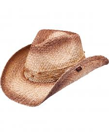 Peter Grimm Blossom Lace Band Brown Straw Cowgirl Hat