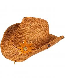 Peter Grimm Calico Flower Brown Straw Cowgirl Hat