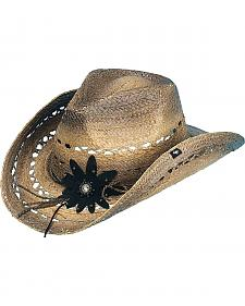 Peter Grimm Mallorie Flower Black Straw Cowgirl Hat