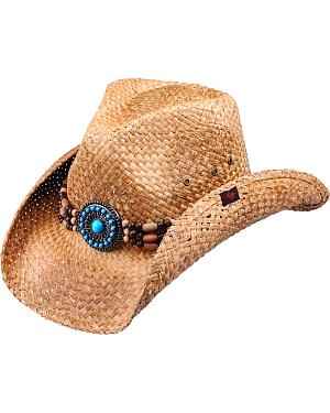 Peter Grimm Cree Turquoise Beaded Brown Cowgirl Hat