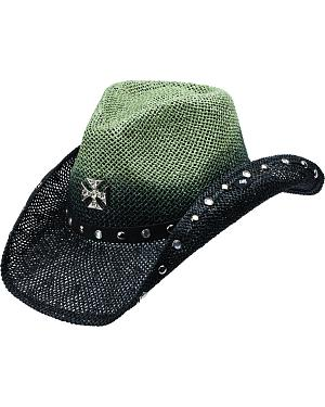 Peter Grimm Rosenheim Cross Two-Tone Black and Green Cowgirl Hat