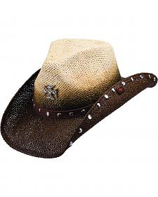 Peter Grimm Rosenheim Cross Two-Tone Brown and Tan Cowgirl Hat