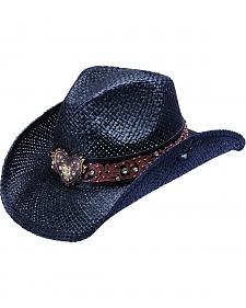 Peter Grimm Flint Metal Heart Bling Black Straw Cowgirl Hat