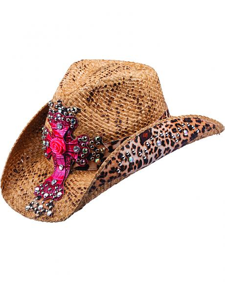 Peter Grimm Eris Leopard Print and Pink Embellished Cross Straw Cowgirl Hat