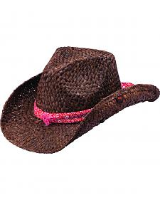 Peter Grimm Cotter Red Bandana Dark Brown Straw Cowgirl Hat