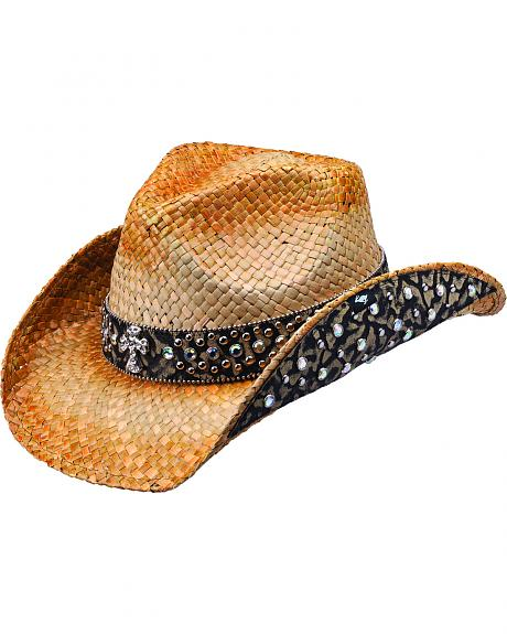 Peter Grimm Weiden Animal Print Embellished Straw Cowgirl Hat