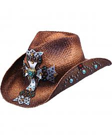 Peter Grimm Mischa Embellished Cross Straw Cowgirl Hat