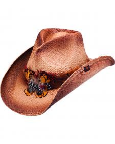 Peter Grimm Tish Feather Brown Straw Cowgirl Hat
