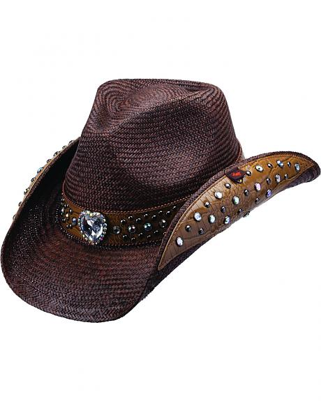 Peter Grimm Bela Heart and Stud Embellished Dark Brown Panama Straw Cowgirl Hat