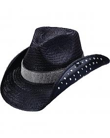 Peter Grimm Braden Embellished Black Straw Cowgirl Hat
