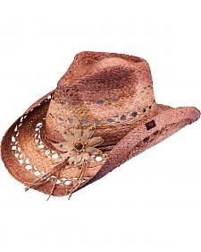 Peter Grimm Mallorie Flower Brown Straw Cowgirl Hat