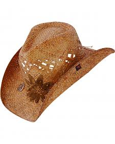 Peter Grimm Love Flower Brown Straw Cowgirl Hat