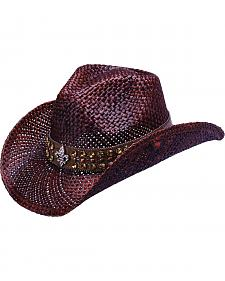 Peter Grimm Colden Fleur De Lis Studded Dark Brown Straw Gowgirl Hat