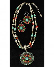 Blazin Roxx Multi-Bead Round Pendant Necklace & Earrings Set