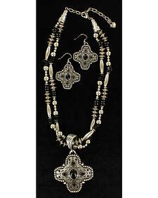 Blazin Roxx Engraved Cross Pendant Necklace & Earrings Set