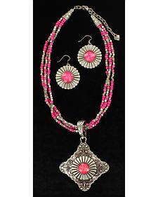 Blazin Roxx Multi-Strand Triangle Pendant Necklace & Earrings Set