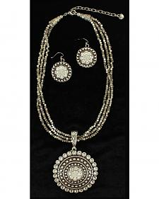 Blazin Roxx Multi-strand Round Pendant Necklace & Earrings Set