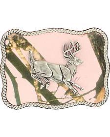 Nocona Women's Jumping Buck Pink Mossy Oak Buckle