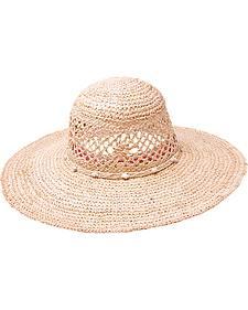 "Peter Grimm Seaside 4 1/2"" Shell Band Raffia Straw Sun Hat"