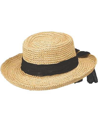 Peter Grimm Gondola Black Bow Raffia Straw Sun Hat $41.99 AT vintagedancer.com