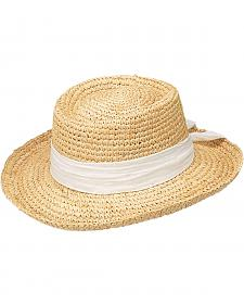 Peter Grimm Gondola White Bow Raffia Straw Sun Hat
